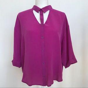 Maeve fuchsia silk cut out blouse